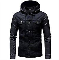 Men's Denim Grey Winter Long Sleeve Detachable Coat Jacket