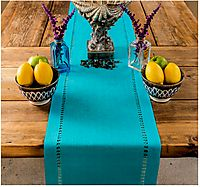 PROVIMO HOME Hemstitched Table Runners (14 x 90 Inch, Teal)