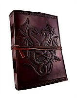 DEAL on Embossed leather dual dragons 120 leaf journal | Cuerobags